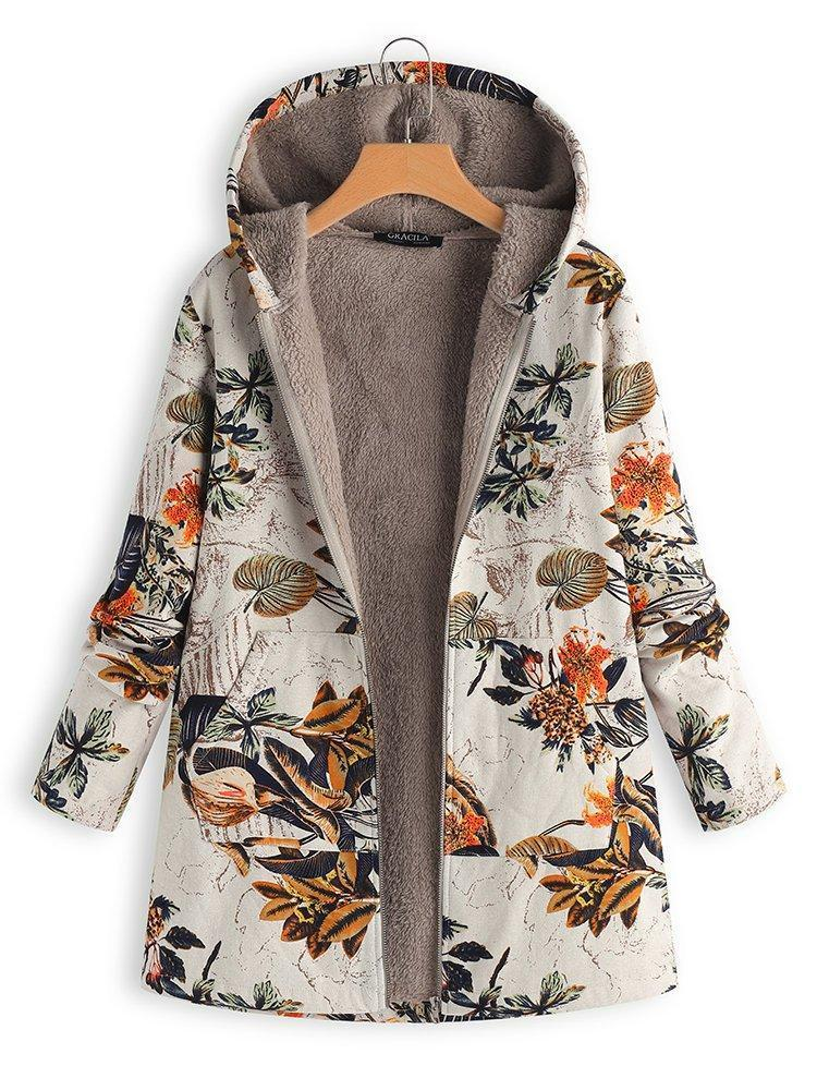 Vintage Leaves Floral Print Hoodie Long Sleeve Coat choichic.com