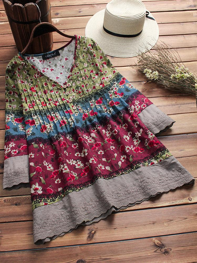 Vintage Floral Print Patchwork 3/4 Sleeve V-neck Blouses For Women choichic.com