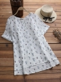 asymmetrical-short-sleeve-cat-print-o-neck-casual-t-shirts