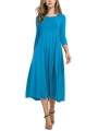 women-casual-brief-solid-color-o-neck-3-4-sleeve-dresses