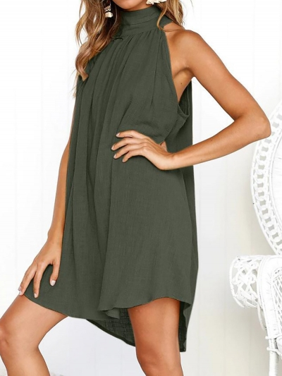 turtle-neck-basic-linen-casual-dress