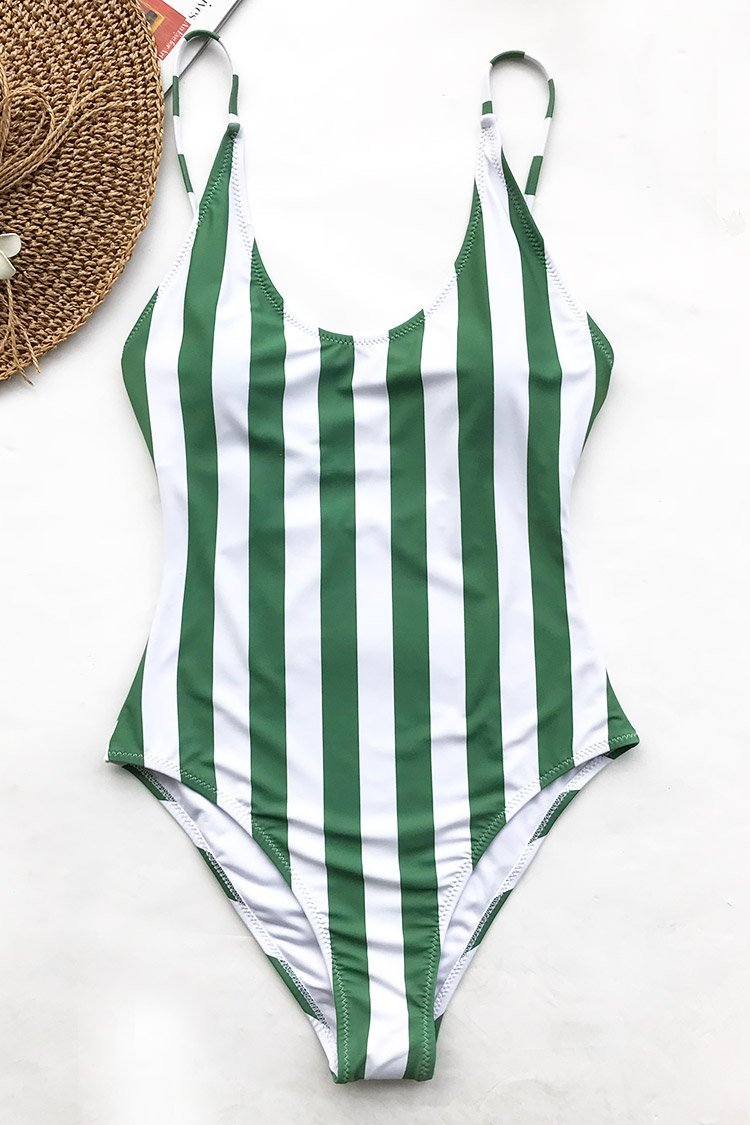 BEAUTY OF NATURE STRIPE ONE-PIECE SWIMSUIT choichic.com