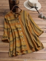 vintage-striped-stand-collar-plus-size-blouse