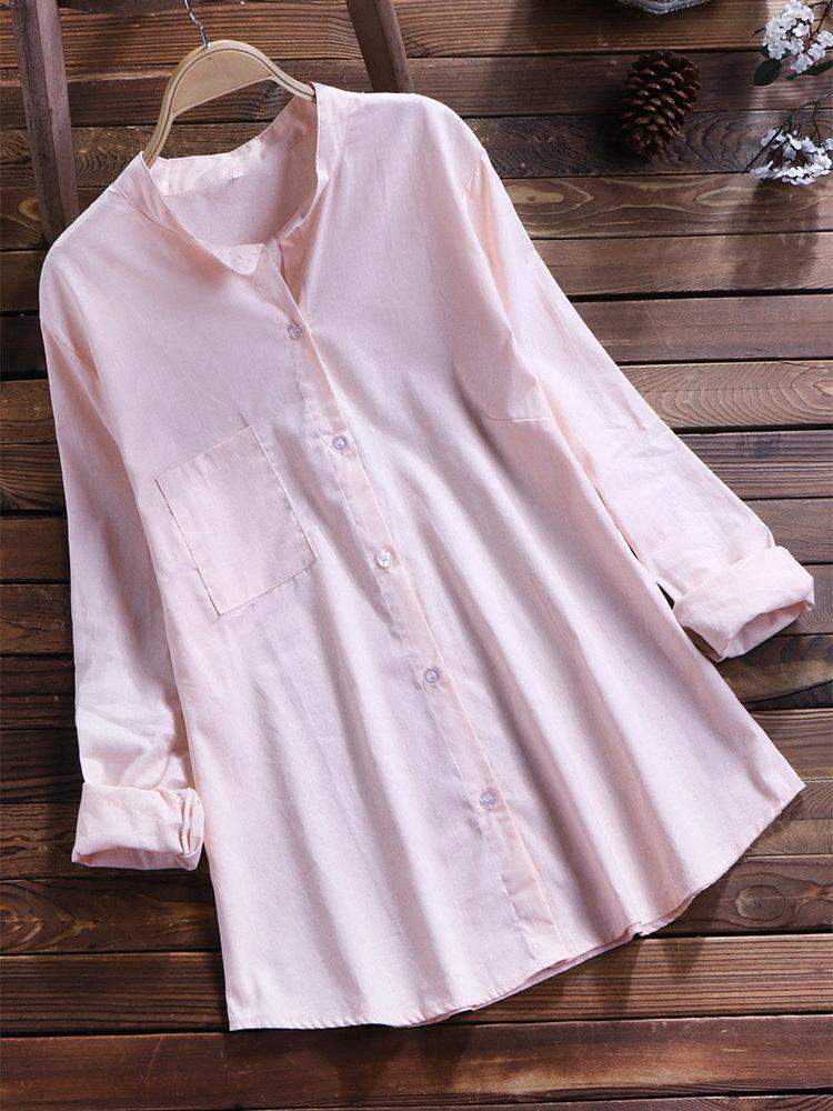 Casual Solid Color Button Standing Collar Blouse for Women choichic.com
