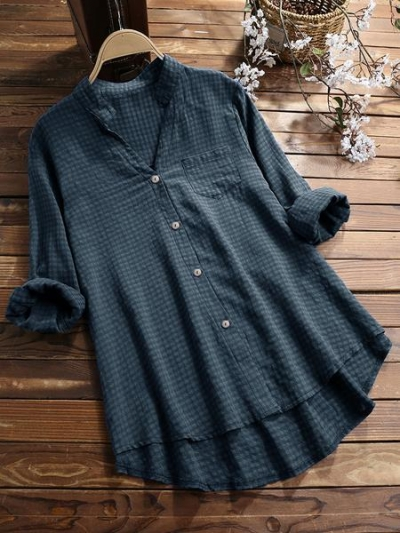 plaid-adjustable-long-sleeve-v-neck-high-low-shirt