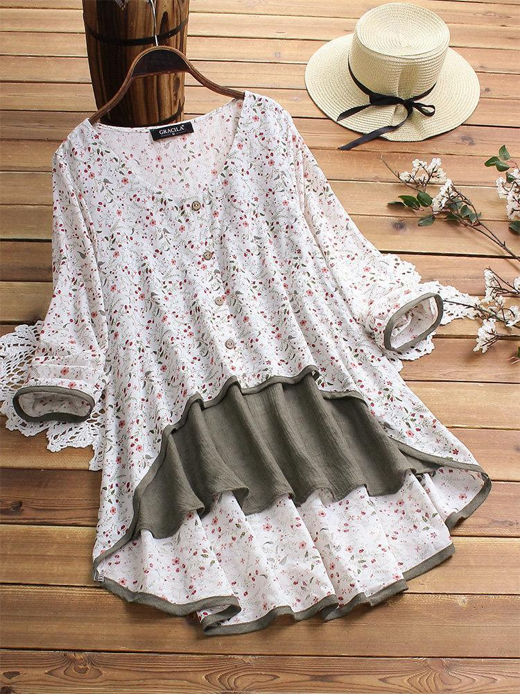 Irregular Floral Print Patchwork Long Sleeve Blouse For Women choichic.com