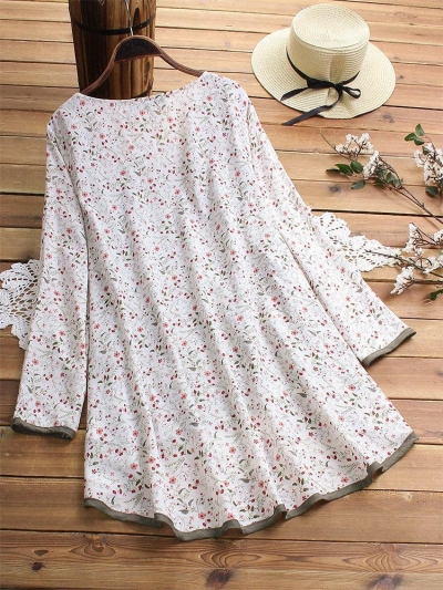 irregular-floral-print-patchwork-long-sleeve-blouse-for-women