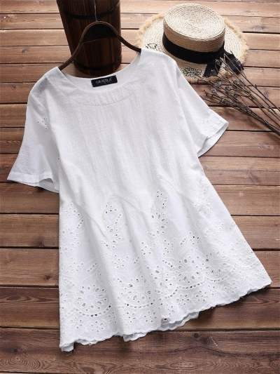 laced-hollow-embroidered-short-sleeve-vintage-blouses
