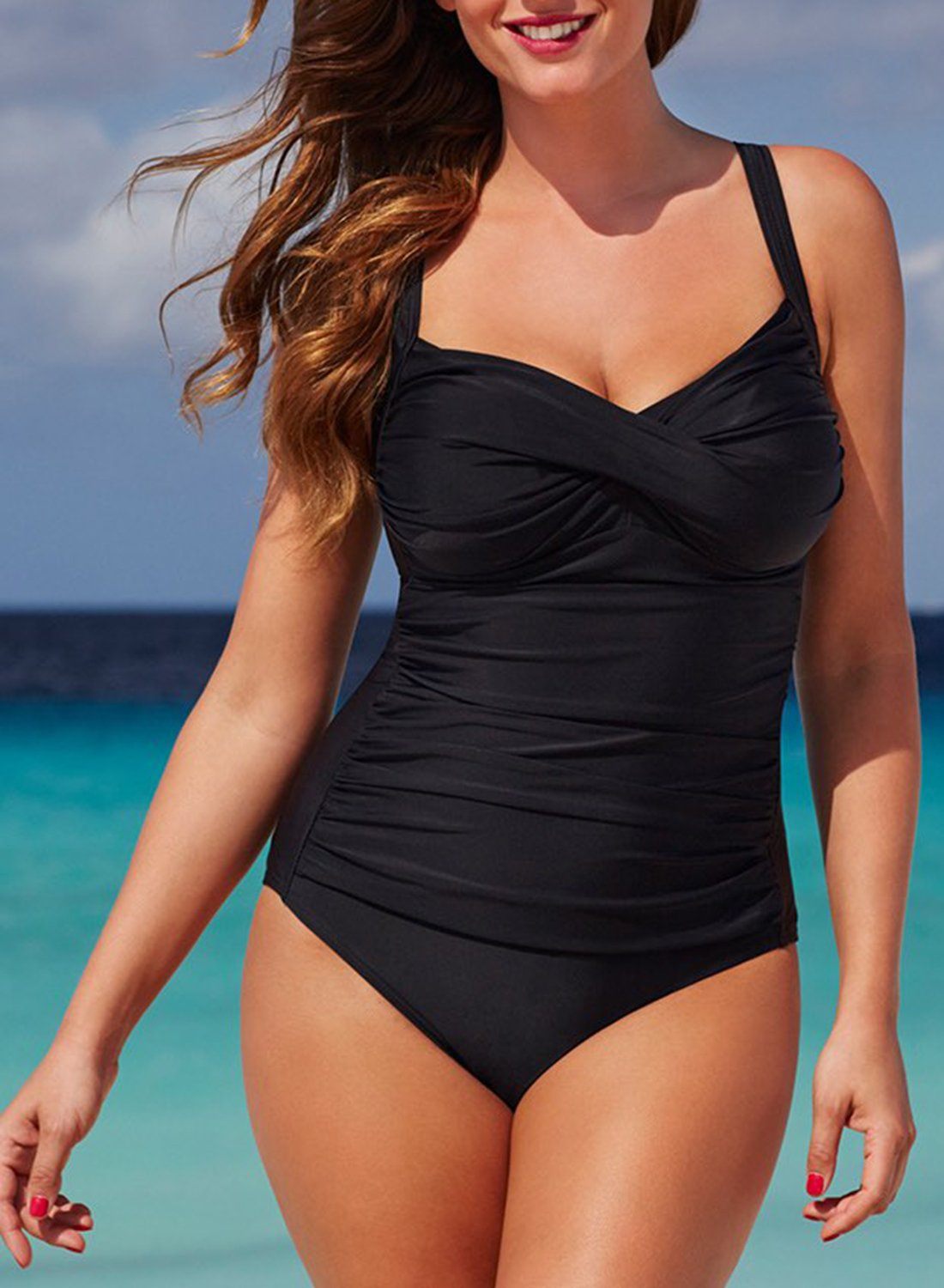 BLACK RUCHED SWEETHEART ONE PIECE SWIMSUIT choichic.com