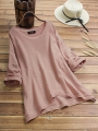 vintage-high-low-hem-solid-color-crew-neck-plus-size-blouse