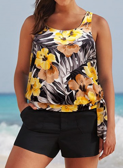 everlasting-floral-side-tie-blouson-tankini-with-cargo-short
