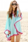 contrast-color-pompon-edge-batwing-sleeve-cover-up