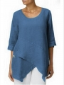 women-blouse-plus-size-half-sleeve-irregular-asymmetrical-hem-shirt