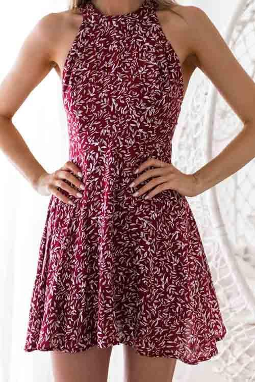 AmourFab in Sexy Printed Hollow-out Wine Red Mini Dress choichic.com