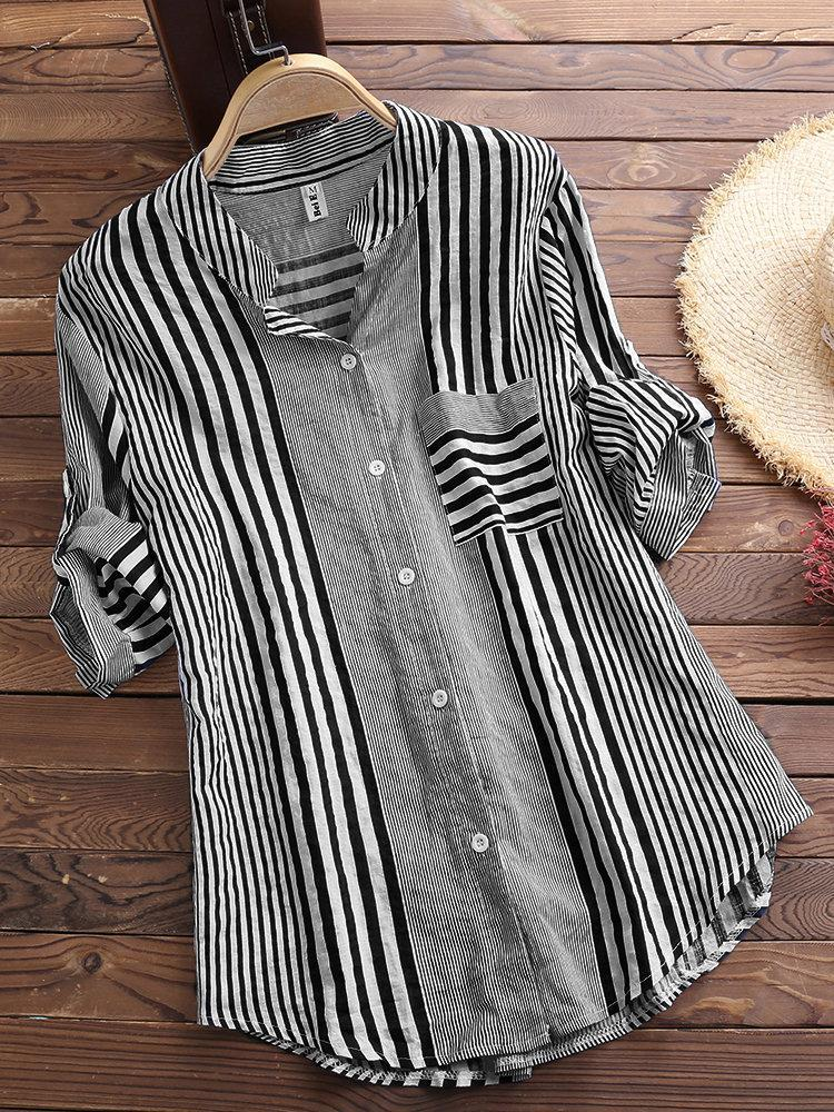 Patchwork Stripe Print Stand Collar Irregular Casual Shirts choichic.com