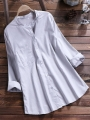 casual-solid-color-button-standing-collar-blouse-for-women