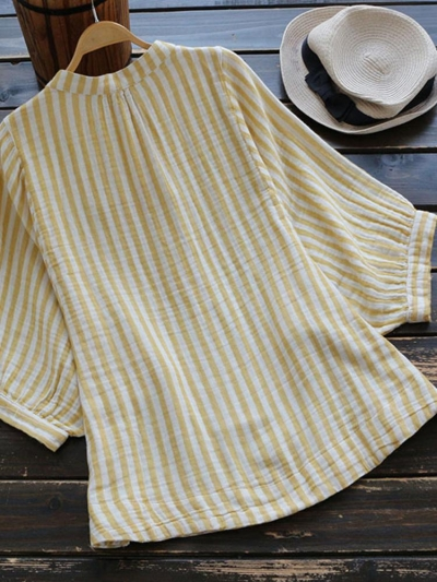 3-4-sleeve-stripe-stand-collar-buttoned-blouse
