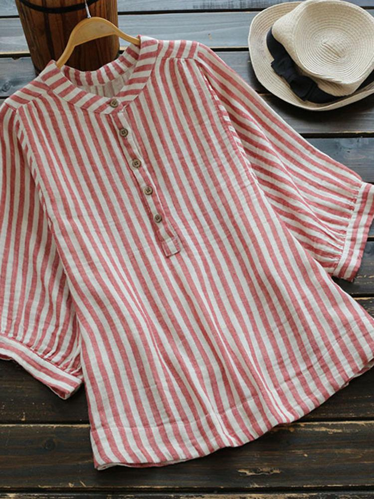 3/4 Sleeve Stripe Stand Collar Buttoned Blouse choichic.com
