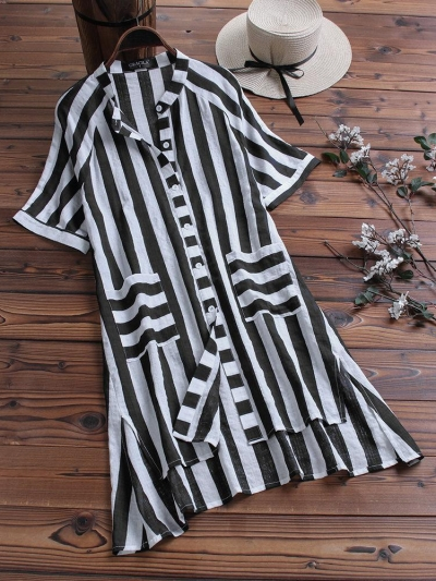 print-striped-short-sleeve-pockets-high-low-casual-blouse