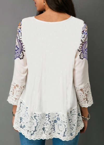 three-quarter-sleeve-lace-patchwork-white-blouse