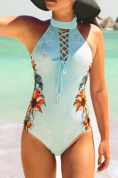 printed-lace-up-one-piece-swimsuit