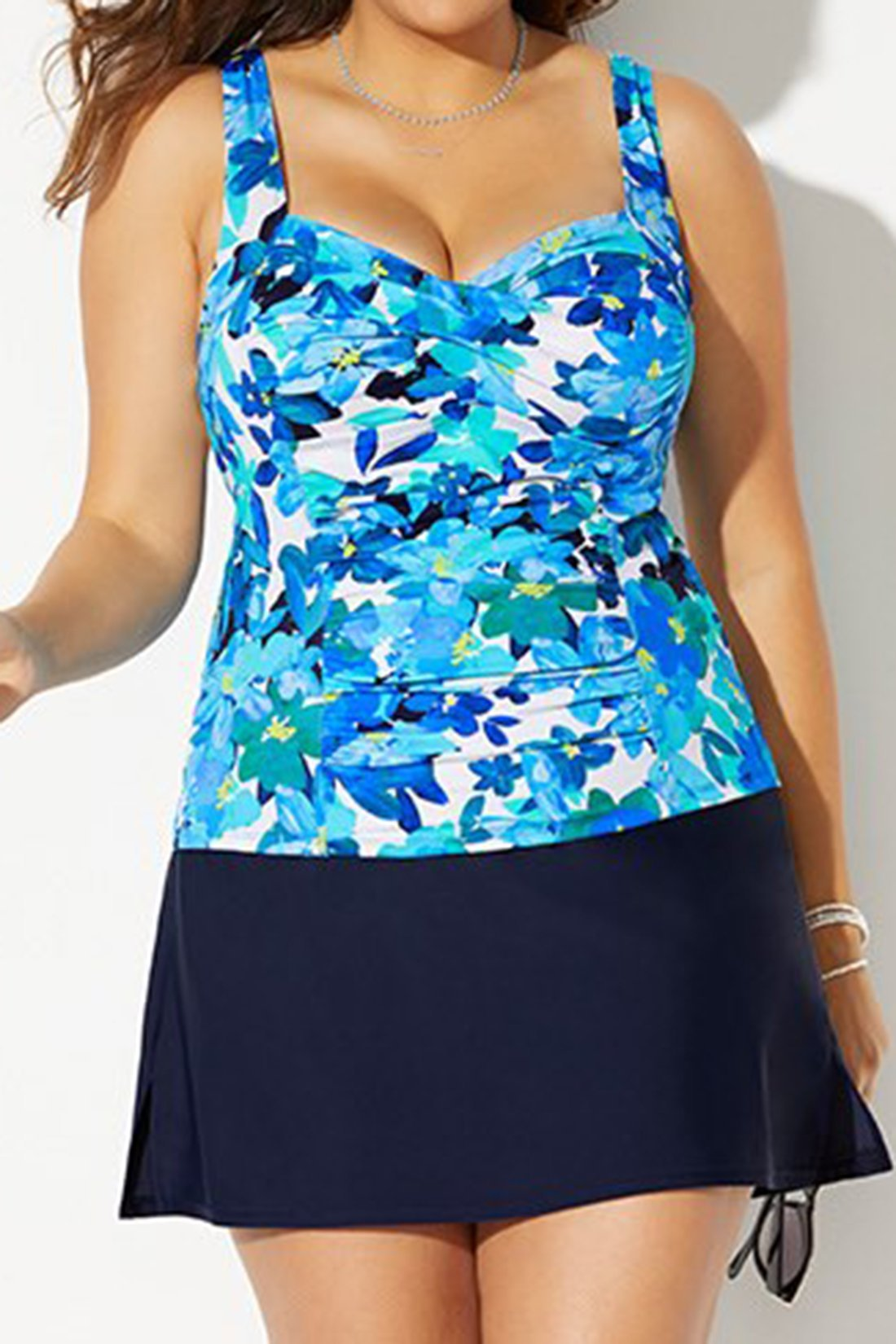 BELLFLOWER RUCHED TWIST FRONT TANKINI WITH NAVY SIDE SLIT SKIRT choichic.com